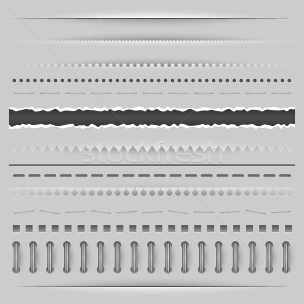 Papier gesneden gescheurd perforatie vector sjabloon Stockfoto © tuulijumala