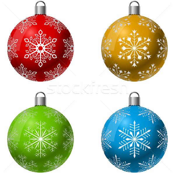 Foto stock: Cor · natal · decoração · bola · vetor · conjunto