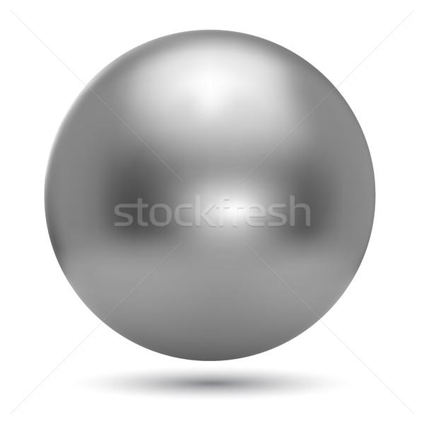 Stockfoto: Chroom · bal · realistisch · geïsoleerd · witte · Maakt · een · reservekopie