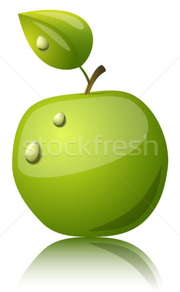 Groene appel glanzend icon waterdruppels geïsoleerd Stockfoto © tuulijumala