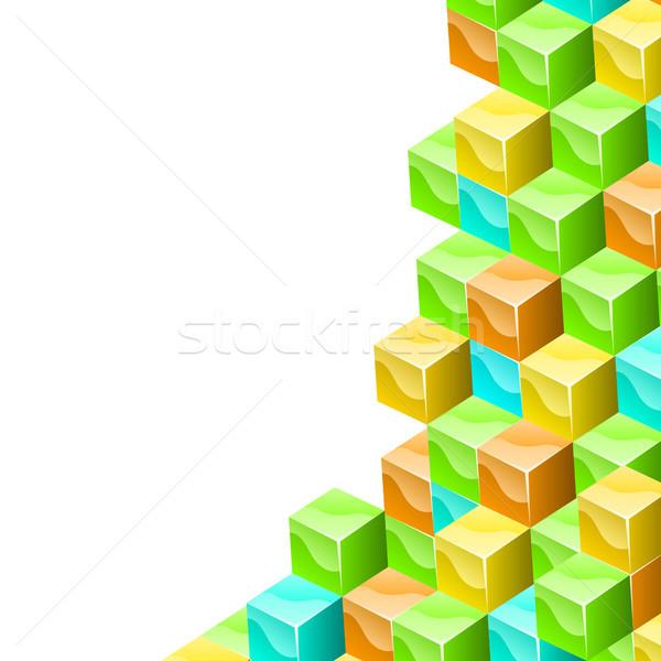 Colorido cubos 3D vector blanco espacio de la copia Foto stock © tuulijumala