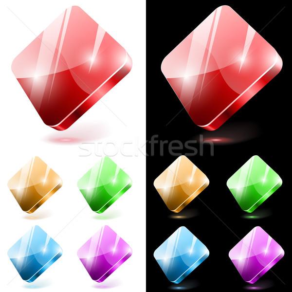 Diamond shaped 3D glass web buttons isolated on white and black  Stock photo © tuulijumala