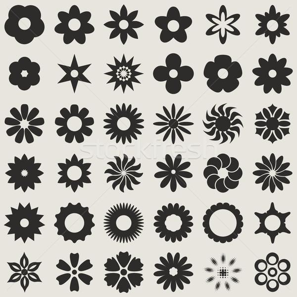 Preto e branco abstrato flor broto formas vetor Foto stock © tuulijumala
