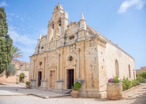 Venetian baroque church of the famous Arkadi Monastery at Crete Stock photo © tuulijumala