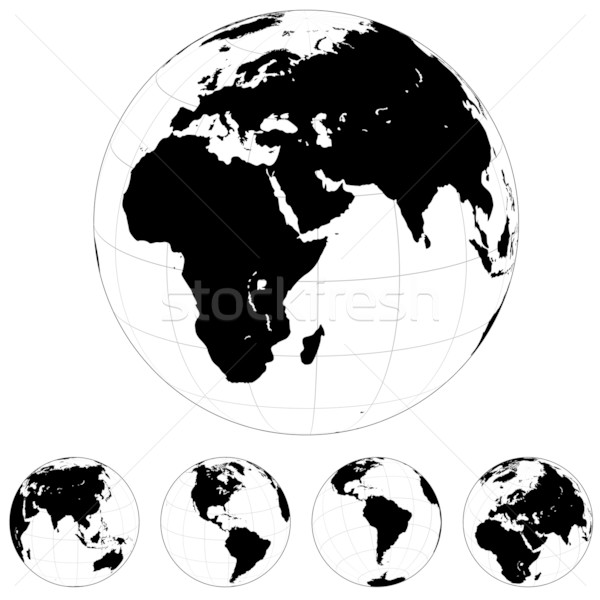 Foto d'archivio: Bianco · nero · mondo · vettore · terra · isolato