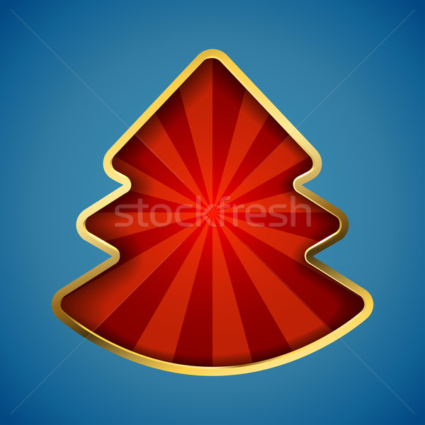 Abstract Christmas tree card with recessed red rays copy space. Stock photo © tuulijumala