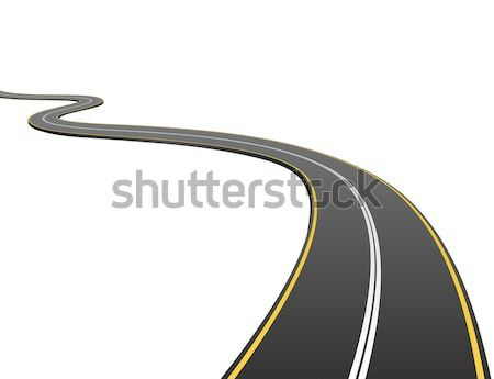 Abstract asphalt road going to the distance isolated on white ba Stock photo © tuulijumala