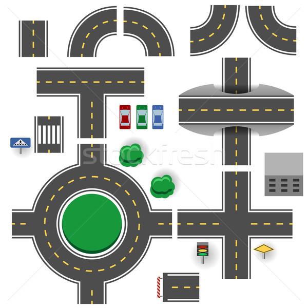 Asphalt road plan parts vector template. Stock photo © tuulijumala