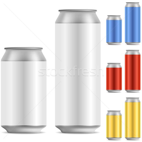 Sör üdítőital alumínium konzerv vektor sablon Stock fotó © tuulijumala