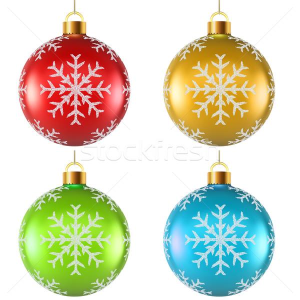 Color Christmas decoration with snowflake shape spattering on su Stock photo © tuulijumala