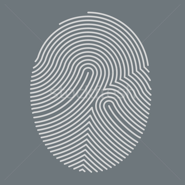 Abstract white fingerprint outline vector illustration on grey b Stock photo © tuulijumala