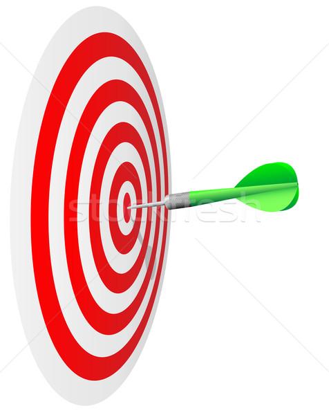 Winning concept.  Dart's hit the bull's eye isolated on whit Stock photo © tuulijumala