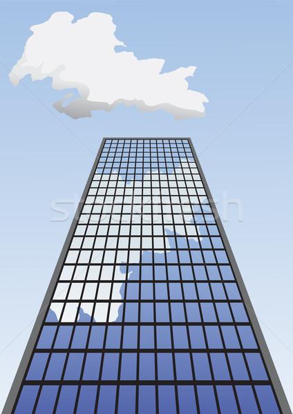 Vector illustration of skyscraper going up to the sky. Stock photo © tuulijumala
