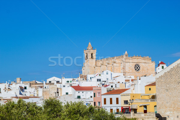 Cityscape of  Ciutadella old town with old cathedral domination Stock photo © tuulijumala