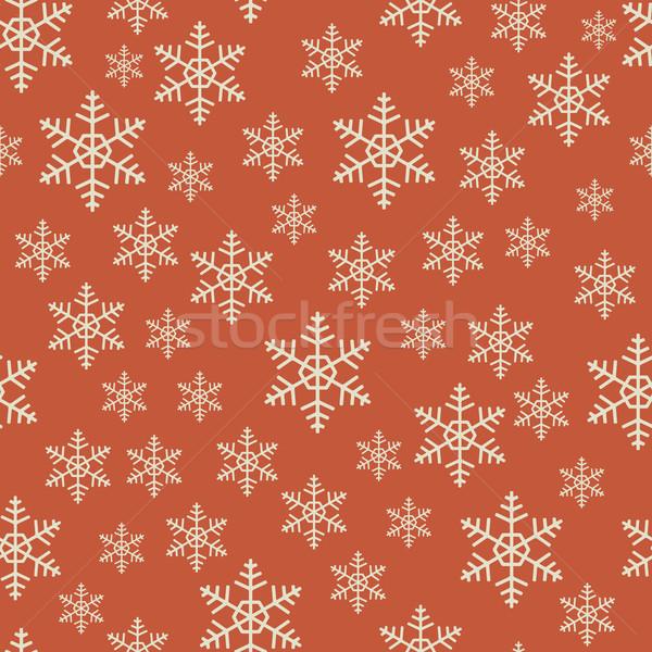 Stockfoto: Naadloos · Rood · witte · christmas · sneeuwvlok · vector