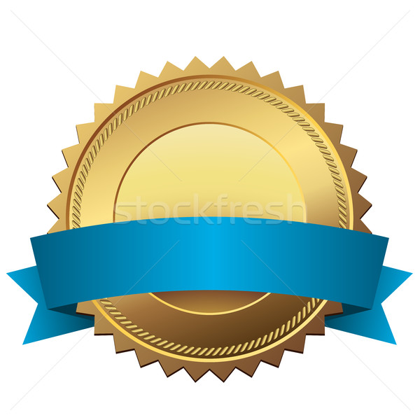 Stock photo: Blank golden quality label with blue banner vector template