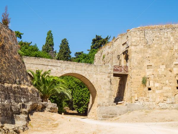 Rhodes old town entrance bridge, Greece. Stock photo © tuulijumala