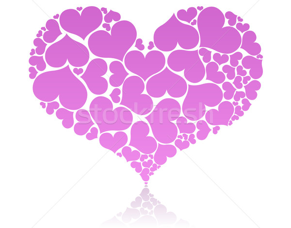 Big pink heart shape comprised by smaller ones. Stock photo © tuulijumala