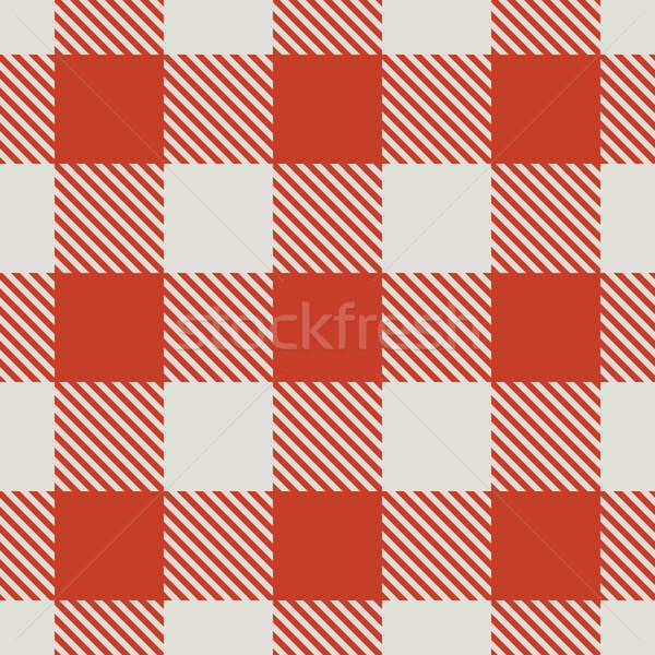 бесшовный красный белый скатерть вектора шаблон Сток-фото © tuulijumala