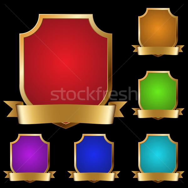 Foto stock: Vector · establecer · decorativo · dorado · banner · aislado