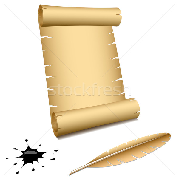 Ancient scroll with feather and blot isolated on white backgroun Stock photo © tuulijumala