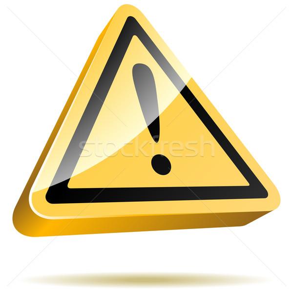 3D yellow warning sign isolated on white background. Stock photo © tuulijumala