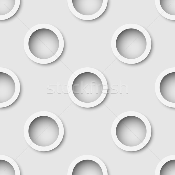 Seamless white extruded rings wall vector background.  Stock photo © tuulijumala