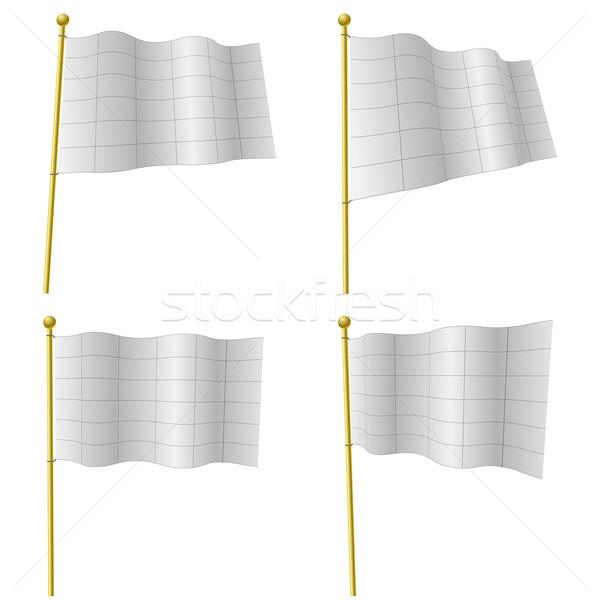 Witte vlaggen vector sjabloon zwarte grid Stockfoto © tuulijumala