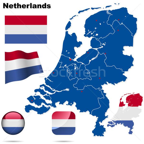 Сток-фото: Нидерланды · вектора · набор · подробный · стране · форма