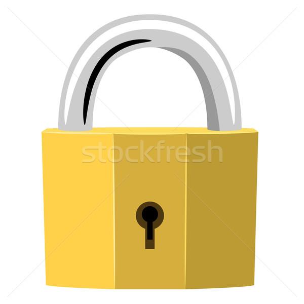 Eenvoudige illustratie gouden hangslot geen effecten Stockfoto © tuulijumala