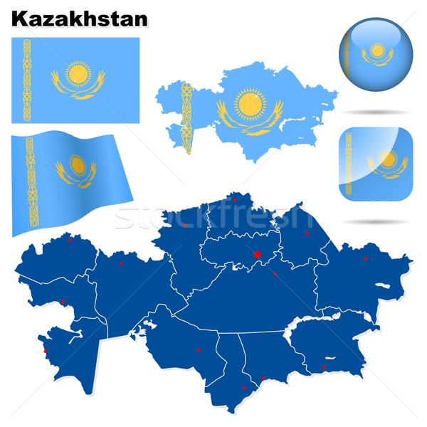Kazachstan wektora zestaw szczegółowy kraju Zdjęcia stock © tuulijumala