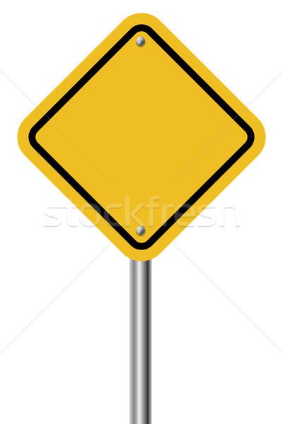 Blank diamond shaped warning yellow sign Stock photo © tuulijumala