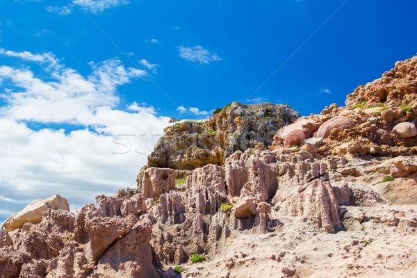 Cala Morell lunar like rocks at Menorca island, Spain. Stock photo © tuulijumala