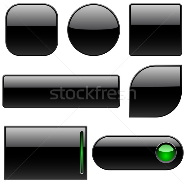 Blank black plastic buttons for web sites isolated on white. Stock photo © tuulijumala