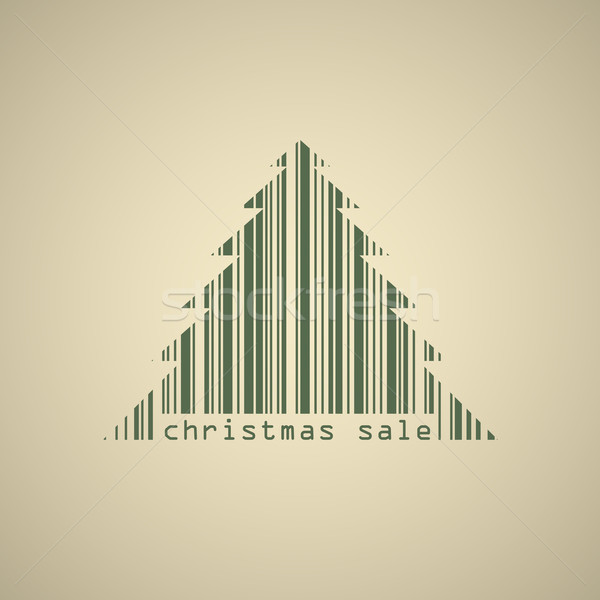 Christmas tree bar code sale banner vector template. Stock photo © tuulijumala