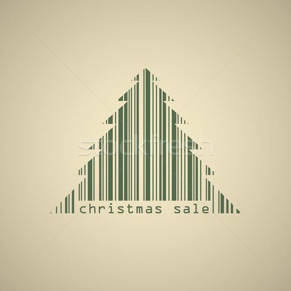 Noel ağacı barkod satış afiş vektör şablon Stok fotoğraf © tuulijumala