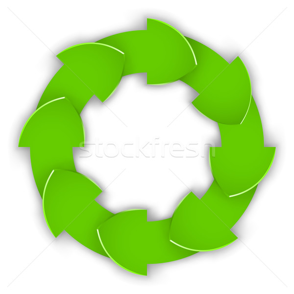 Green curled paper arrows cycle vector design element. Stock photo © tuulijumala