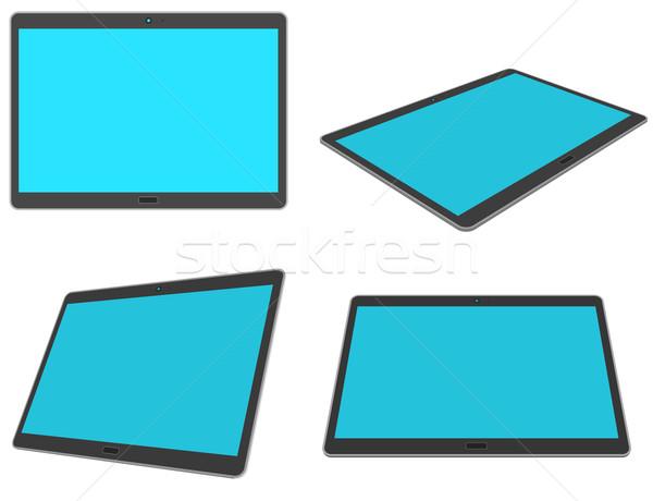 Ontwerp 3D tablet ingesteld geïsoleerd witte Stockfoto © tuulijumala