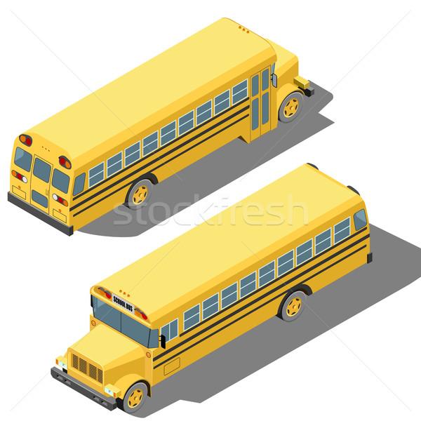 Okul otobüsü izometrik yalıtılmış beyaz çocuklar okul Stok fotoğraf © tuulijumala