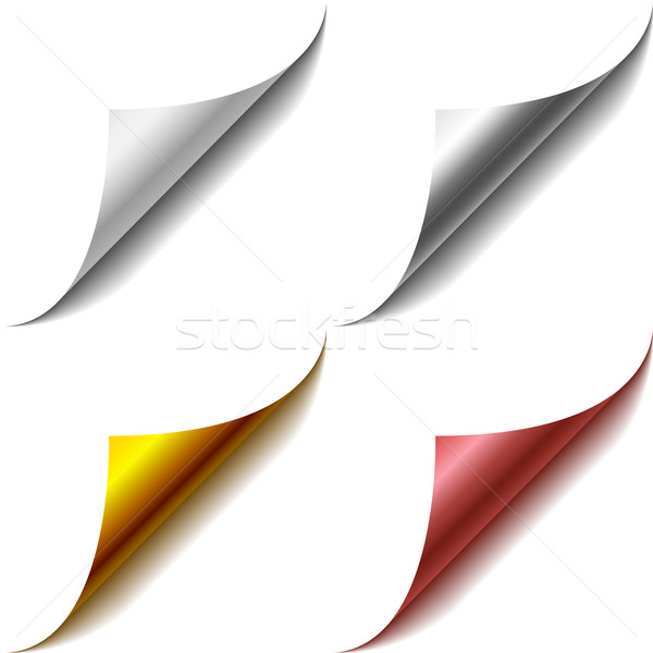 Vector set of bent page corners. One matt and three glossy ones. Stock photo © tuulijumala