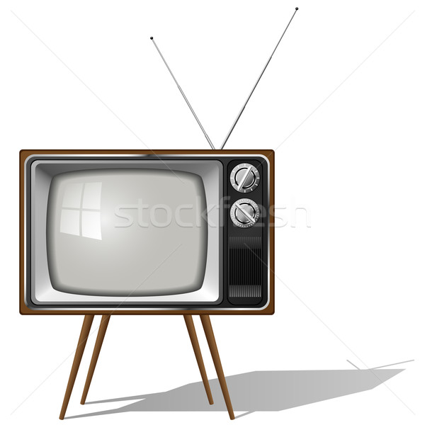 Vector illustration of old-fashioned four legged TV set isolated Stock photo © tuulijumala