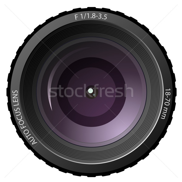 Stock photo: New modern camera lens isolated on white background.