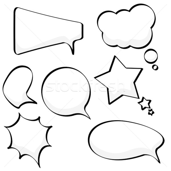 Stock photo: Cartoon sketchy speech and thought bubbles isolated on white bac
