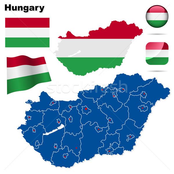 Węgry wektora zestaw szczegółowy kraju Zdjęcia stock © tuulijumala