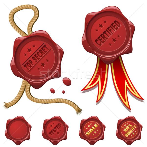 Collectie Rood wax geïsoleerd witte veiligheid Stockfoto © tuulijumala