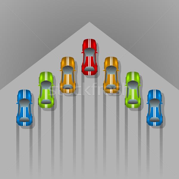Car racing concept arrow shaped background with copy space. Stock photo © tuulijumala