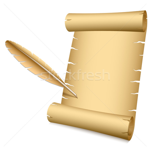 Ancient scroll and writing feather Stock photo © tuulijumala