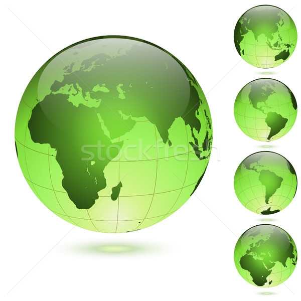 Stockfoto: Groene · glanzend · globes · ingesteld · geïsoleerd · witte