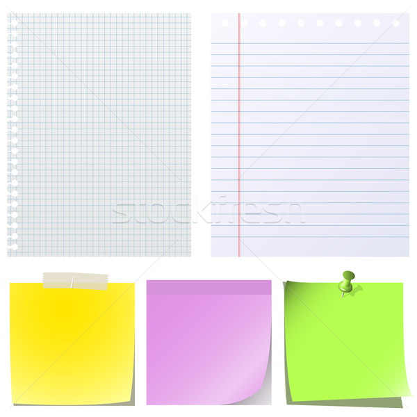 Different types of note papers  isolated on white background. Stock photo © tuulijumala