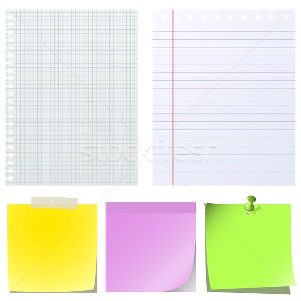 Különböző jegyzet papírok izolált fehér üzlet Stock fotó © tuulijumala